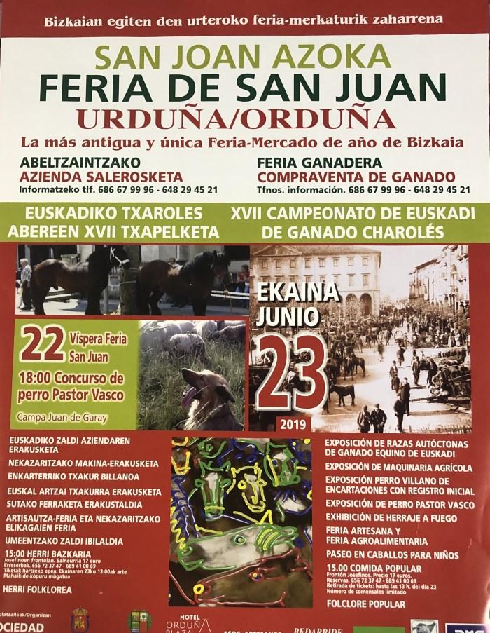 Cartel de FERIA DE SAN JUAN URDUÑA/ORDUÑA