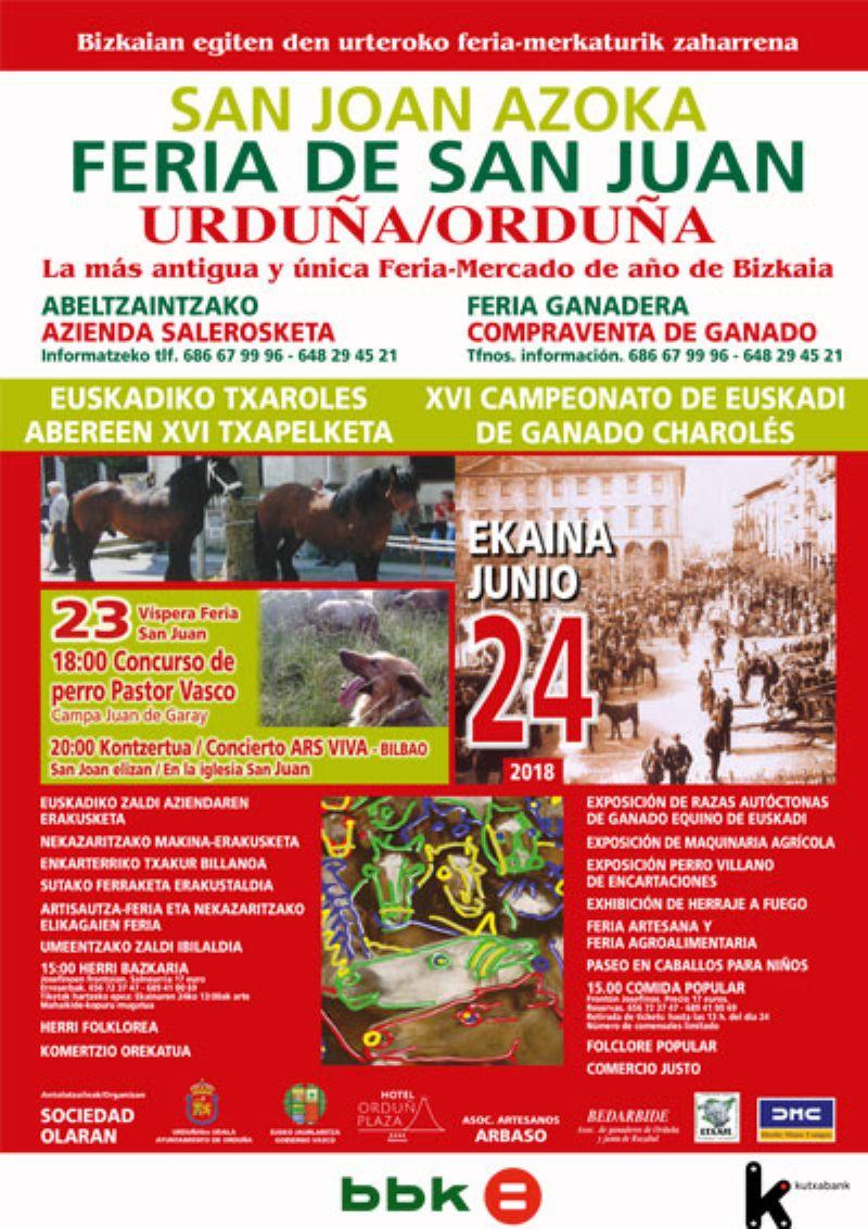 Cartel de FERIA DE SAN JUAN URDUÑA/ ORDUÑA